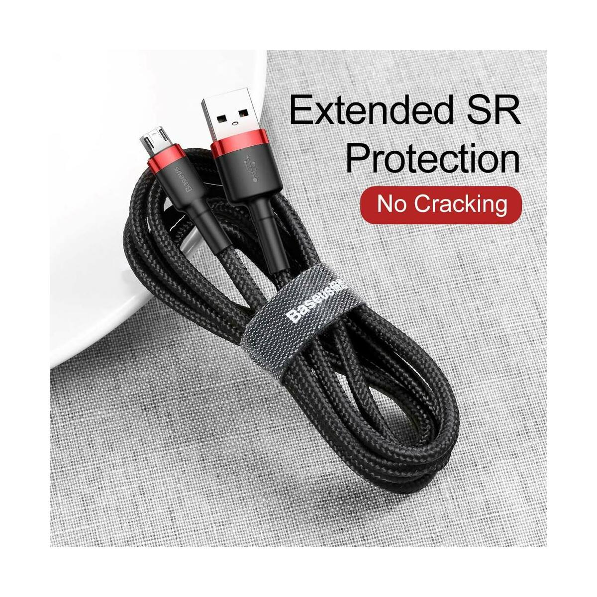 Baseus Micro USB kábel, Cafule 1.5A, 2m, piros/fekete (CAMKLF-C91)