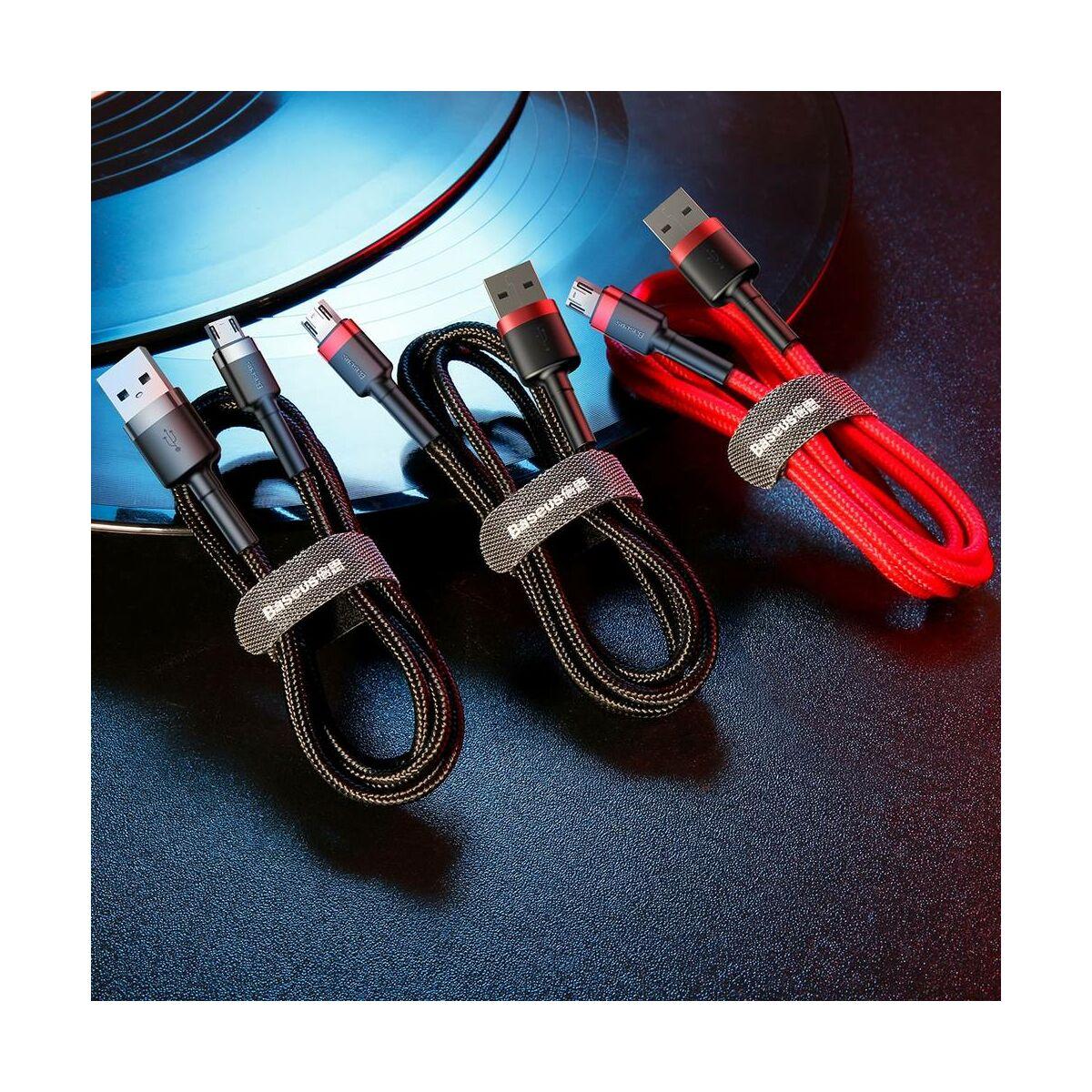 Baseus Micro USB Cafule kábel, 2A, 3m, szürke/fekete (CAMKLF-HG1)