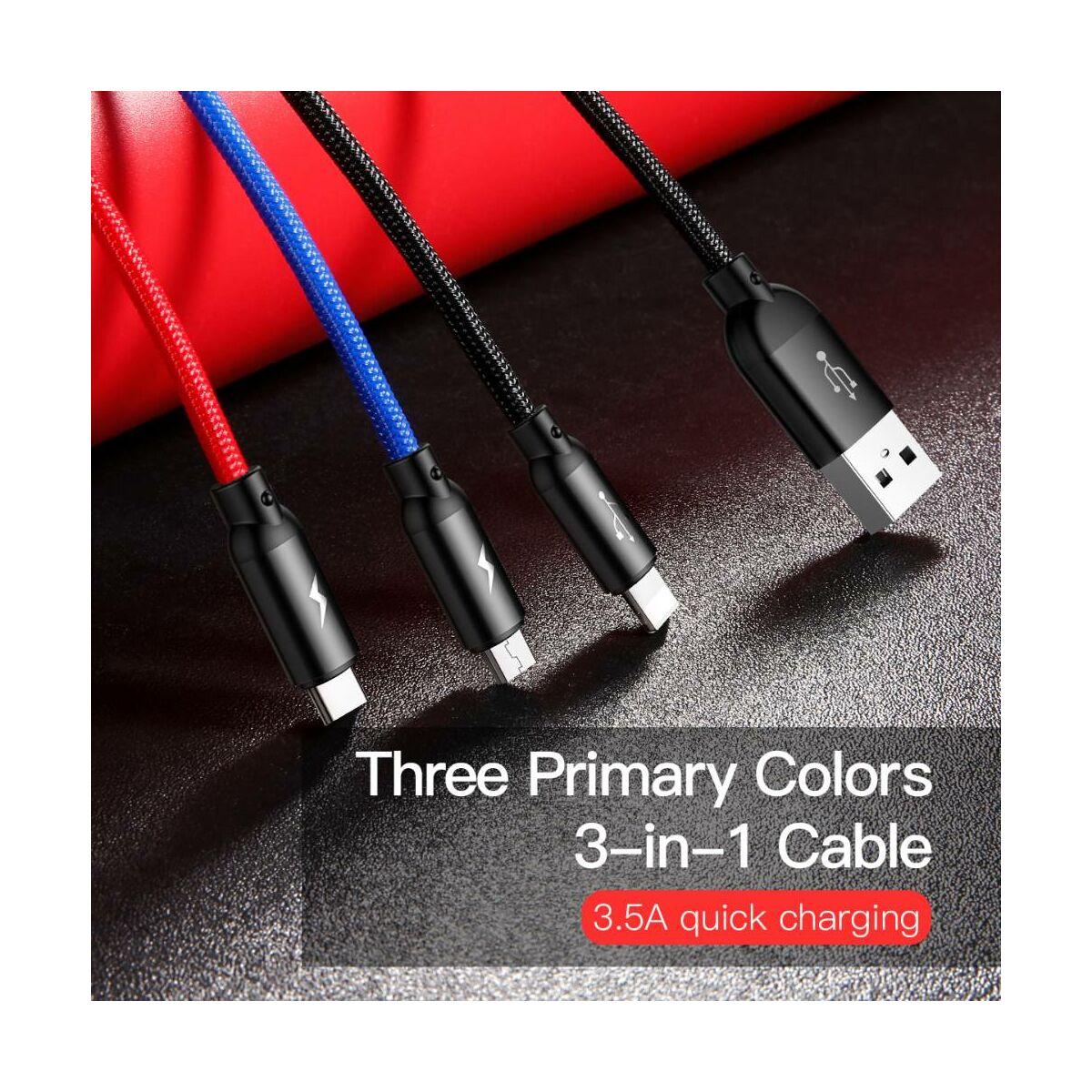 Baseus Univerzális kábel, Three Primary Colors Light/Type-C/Micro fonott Nylon bevonat 3.5A 1.2m, fekete (CAMLT-BSY01)