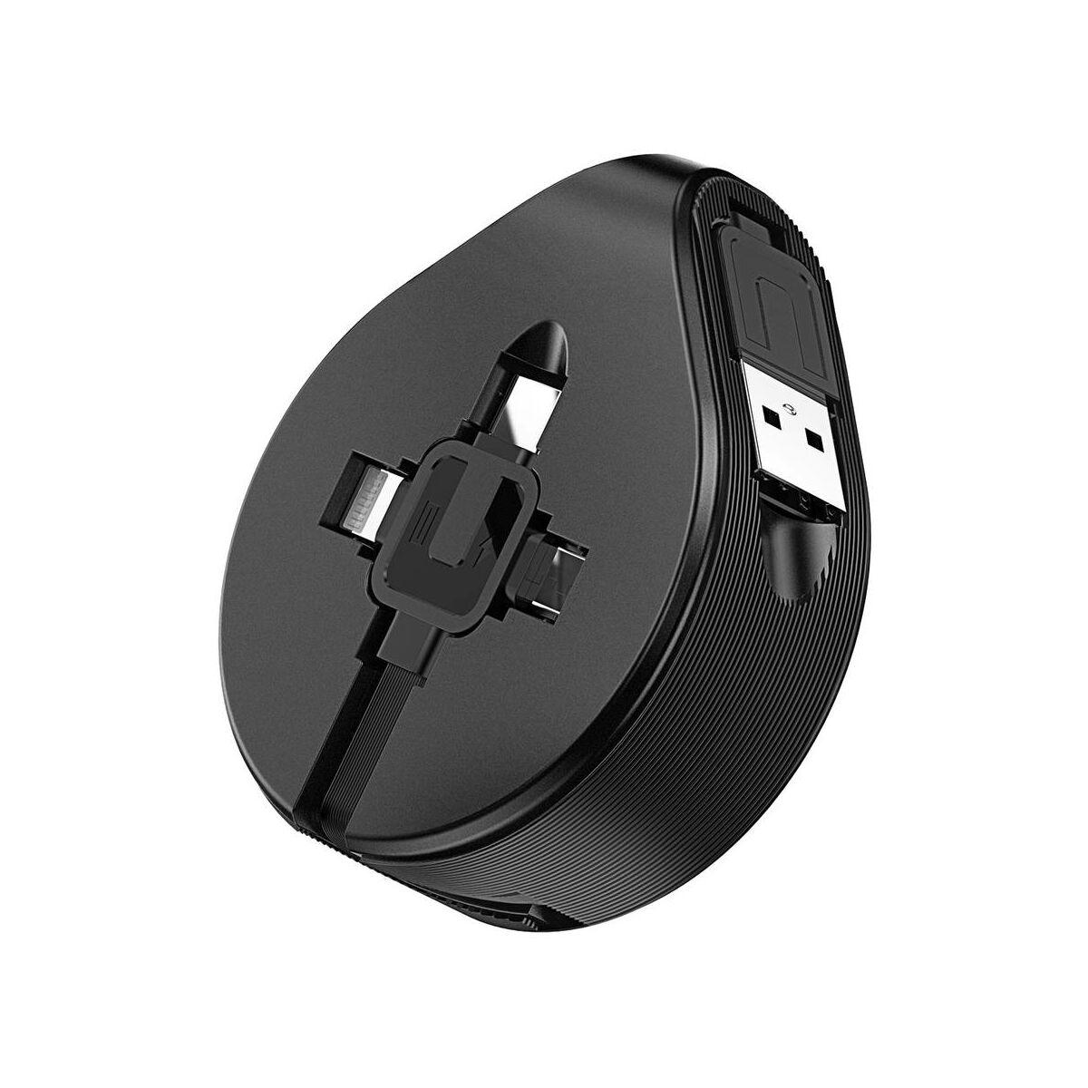 Baseus Univerzális kábel, 3-in-1 (Light-Micro-Type) cseppforma tartóban, kihúzható, 1.5A, 1.5m, fekete (CAMLT-EP01)