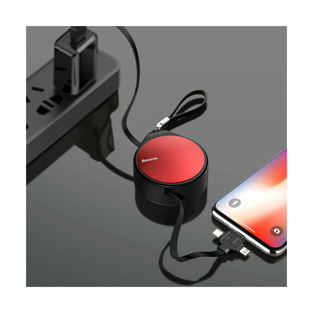 Baseus Univerzális kábel, 3-in-1 (Light-Micro-Type) cseppforma tartóban, kihúzható, 1.5A, 1.5m, piros (CAMLT-EP09)