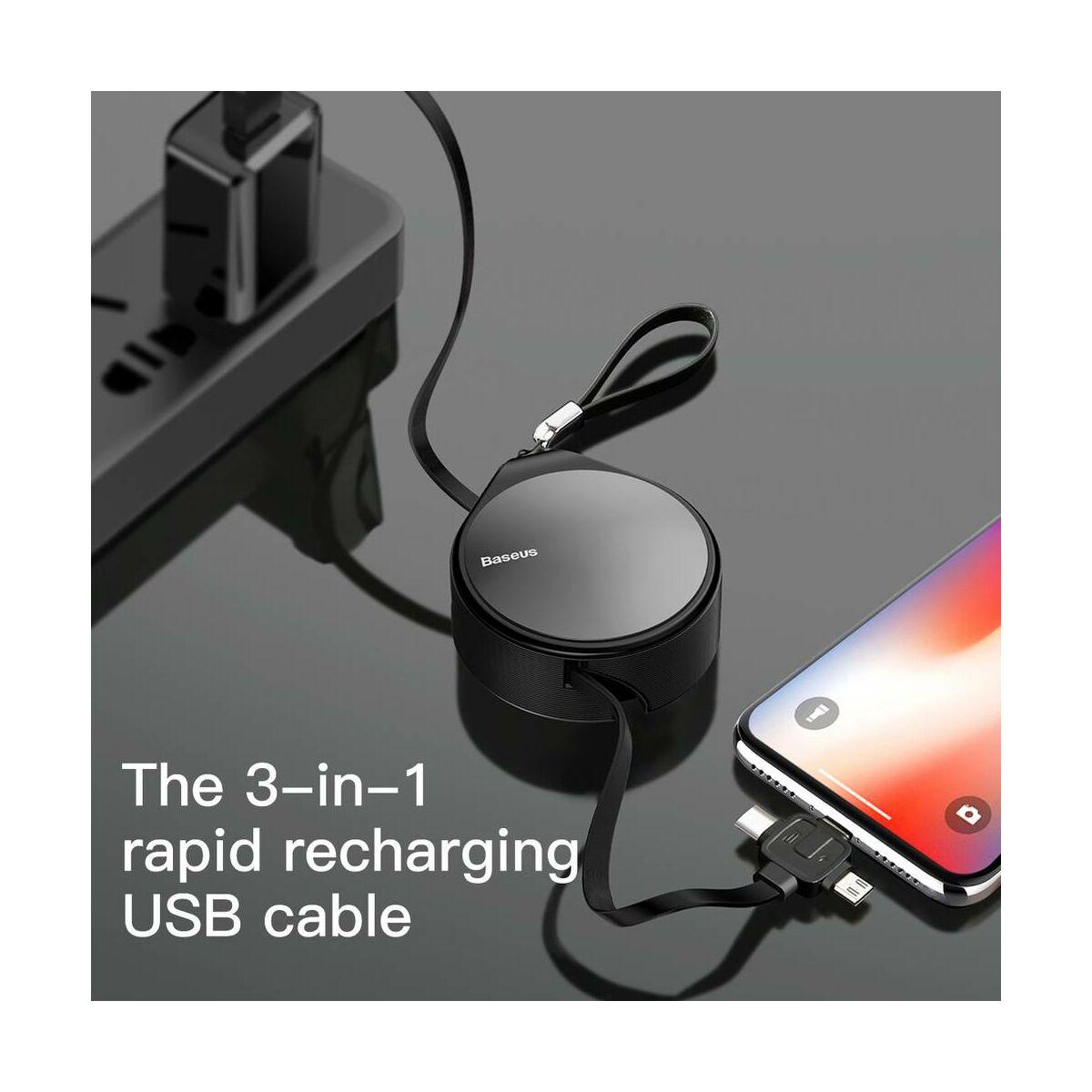 Baseus Univerzális kábel, 3-in-1 (Light-Micro-Type) cseppforma tartóban, kihúzható, 1.5A, 1.5m, szürke (CAMLT-EP0G)