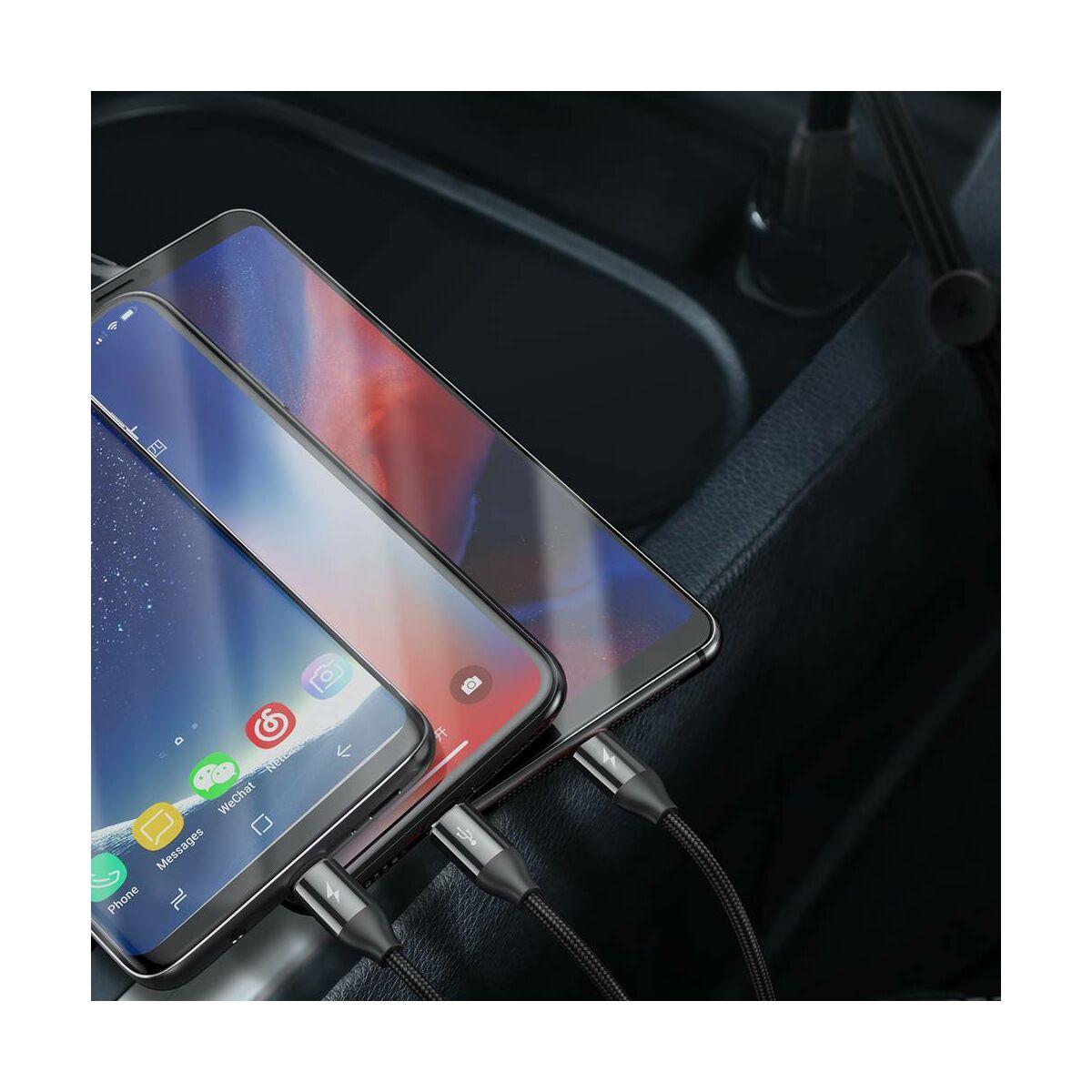 Baseus Univerzális kábel, 3-in-1 Car Co-sharing (Micro + Lightning + Type-C), 3.5A, 1m, fekete (CAMLT-FX01)