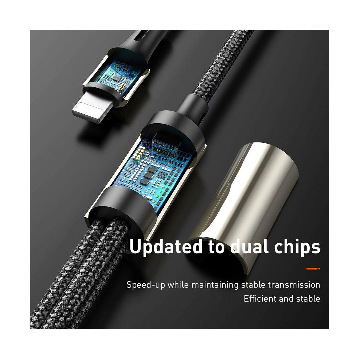 Baseus Univerzális kábel, 3-in-1 Caring touch tapintható logós töltőkábel, 3A, 1.2m, fekete (CAMLT-GH01)