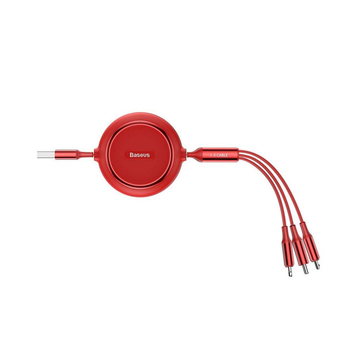 Baseus Univerzális kábel, Golden Loop 3-in-1 rugalmas adatUniverzális kábel, (Micro + Lightning + Type-C) 3.5A, 1.2m piros (CAMLT-JH09)