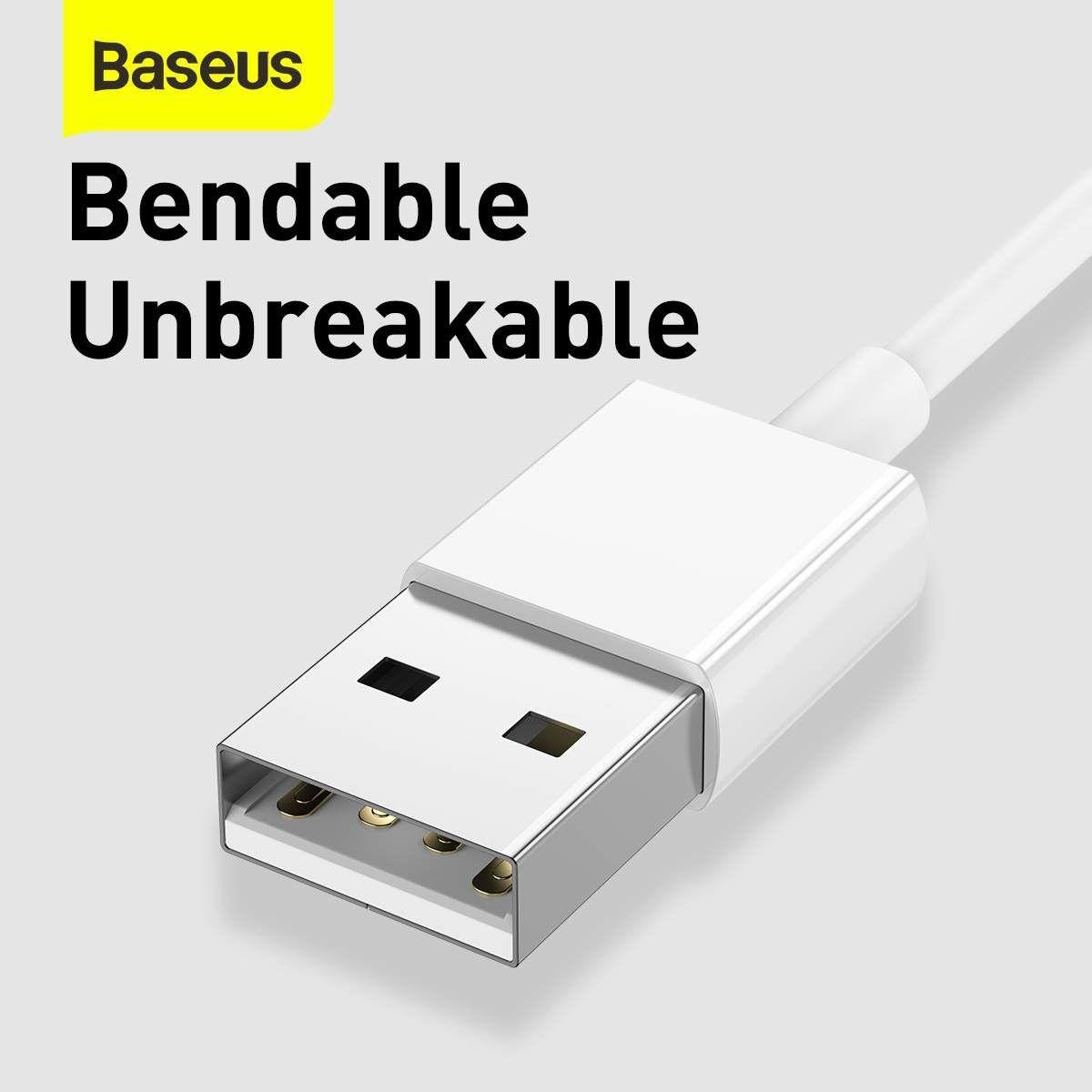 Baseus Univerzális kábel, Superior Series 3-in-1 Gyors töltés, Adatkábel USB bemenetről M+L+C 3.5A 1.5m, fehér (CAMLTYS-02)