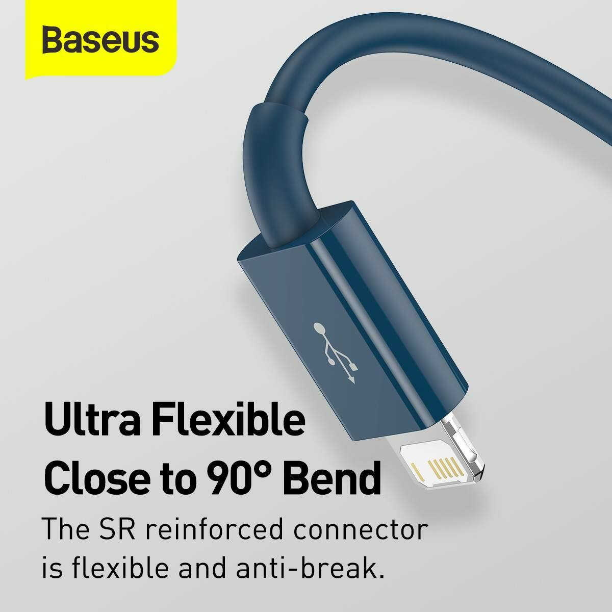 Baseus Univerzális kábel, Superior Series 3-in-1 Gyors töltés, Adatkábel USB bemenetről M+L+C 3.5A 1.5m, kék (CAMLTYS-03)