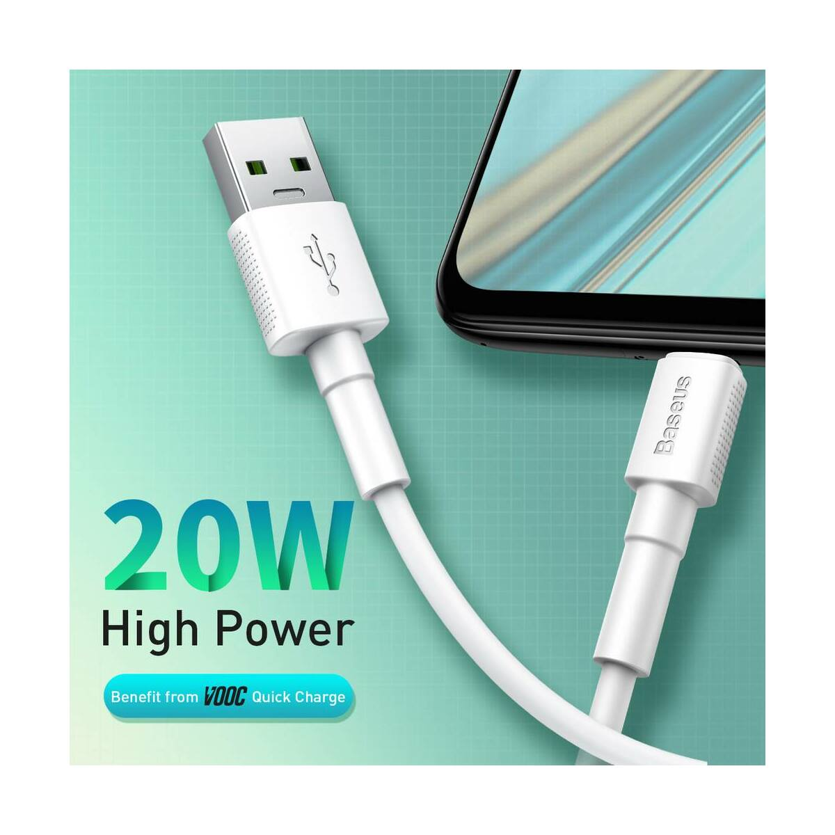 Baseus Micro USB kábel, Mini fehér, 4A, 1m, fehér (CAMSW-D02)