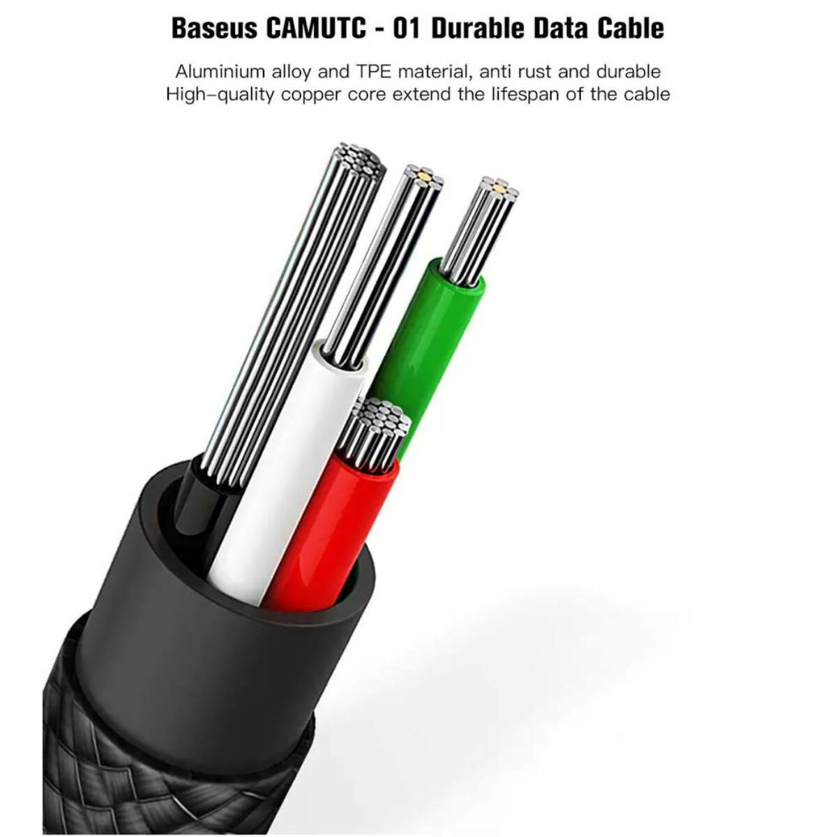 Baseus Univerzális kábel, U-shaped, 2-in-1 multifunkciós(Type-C + micro USB), U forma, 0.23m, 2.4A, fekete (CAMUTC-01)