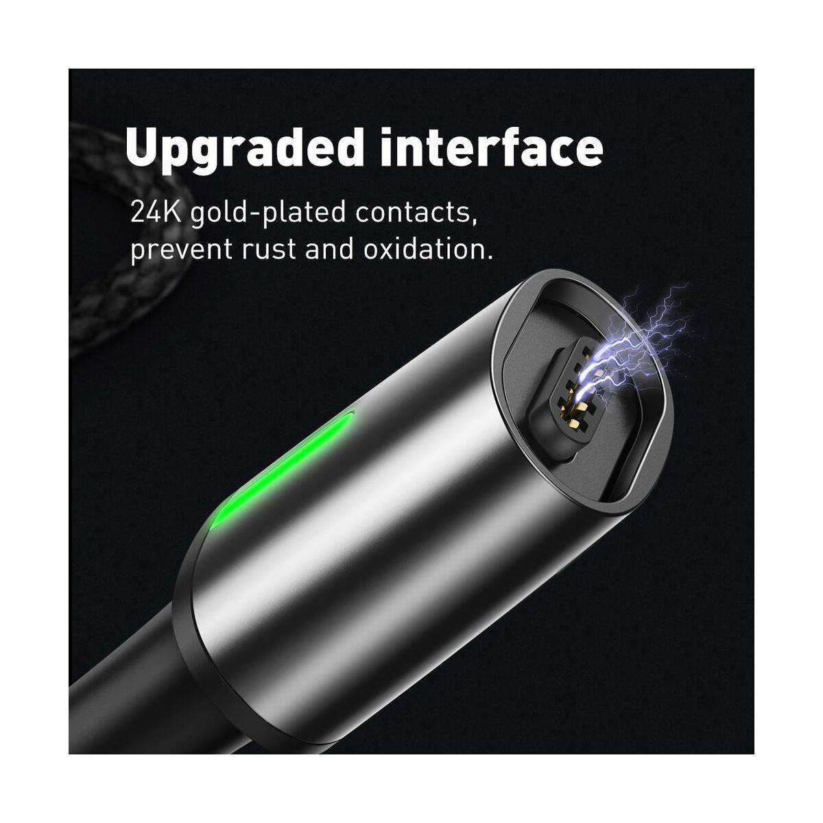 Baseus Mágneses kábel, Micro USB, Mágnessel csatlakozó töltő kábel, 2.4A 1m, fekete (CAMXC-A01)