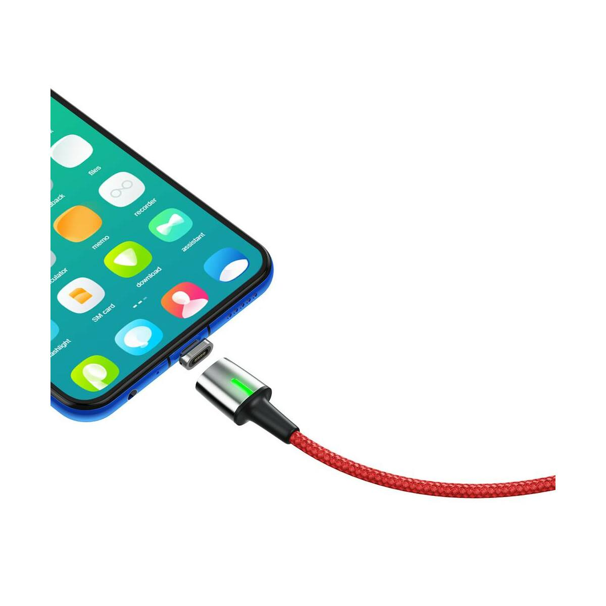 Baseus Mágneses kábel, Micro USB, Mágnessel csatlakozó töltő kábel, 2.4A 1m, piros (CAMXC-A09)