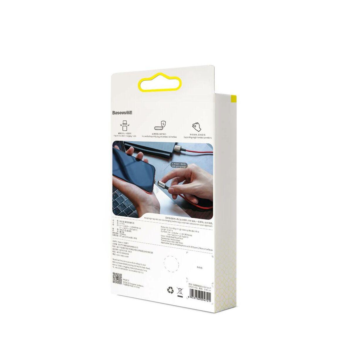 Baseus Mágneses kábel, Micro USB, Mágnessel csatlakozó töltő kábel, 1.5A 2m, fekete (CAMXC-B01)
