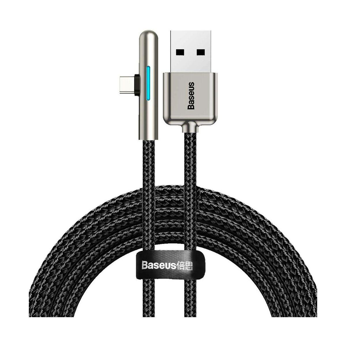 Baseus Type-C kábel, Iridescent Lamp HW töltő kábel mobilos játékhoz 40W, 2m, fekete (CAT7C-C01)