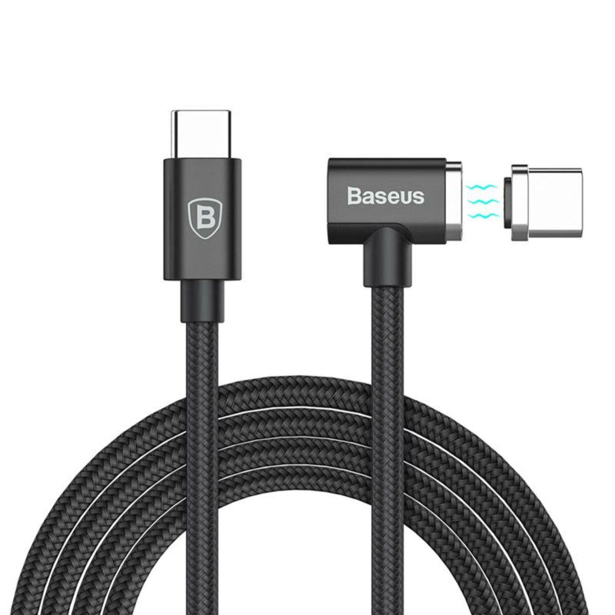 Baseus Mágneses kábel, Type-C - Type-C töltős Laptophoz max 86W, 4.3A, 1.5m, fekete (CATBL-01)