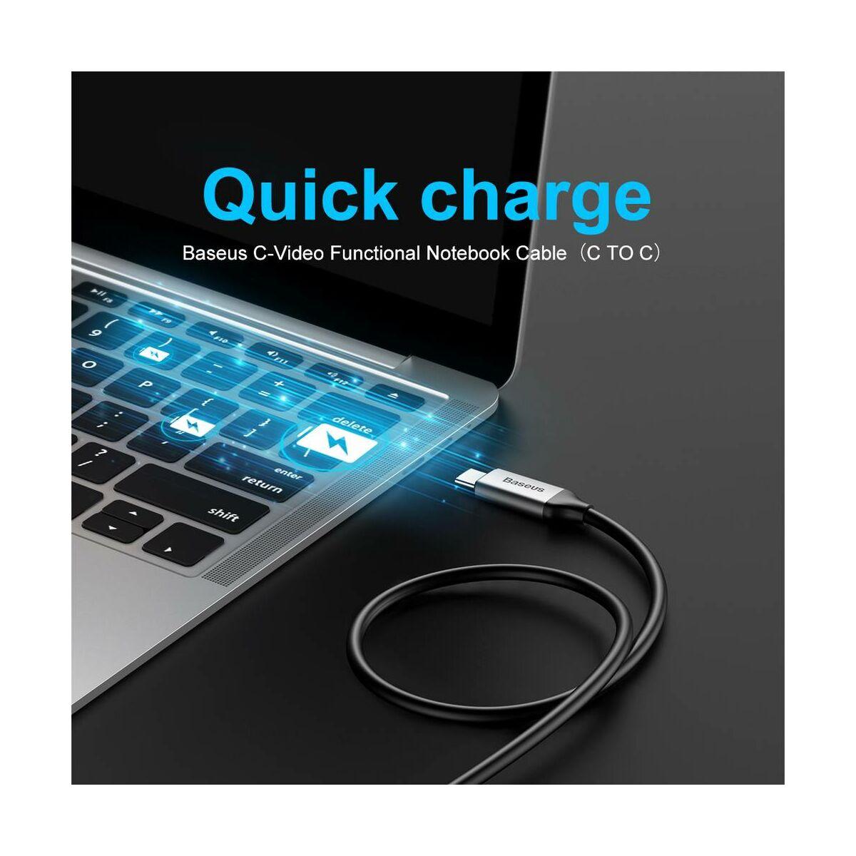 Baseus Video kábel, Type-C - Type-C kimenetes Notebookhoz, sötétszürke (CATCY-C0G)