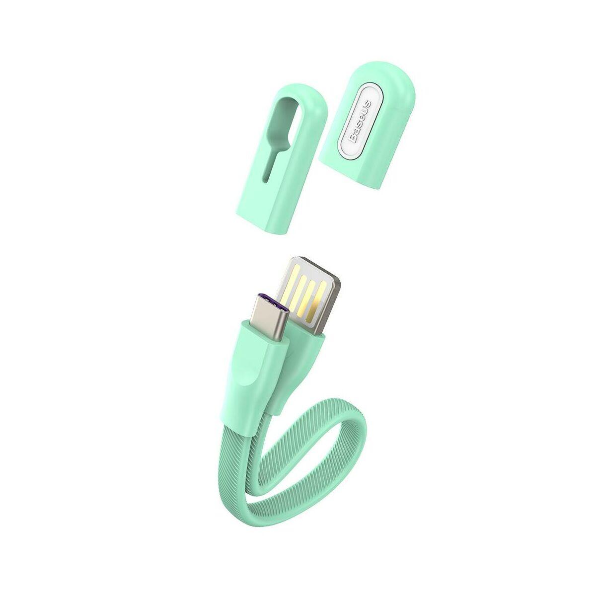 Baseus Karkötő kábel Type-C - USB-A 0.22m 3A, menta zöld (CATFH-06A)