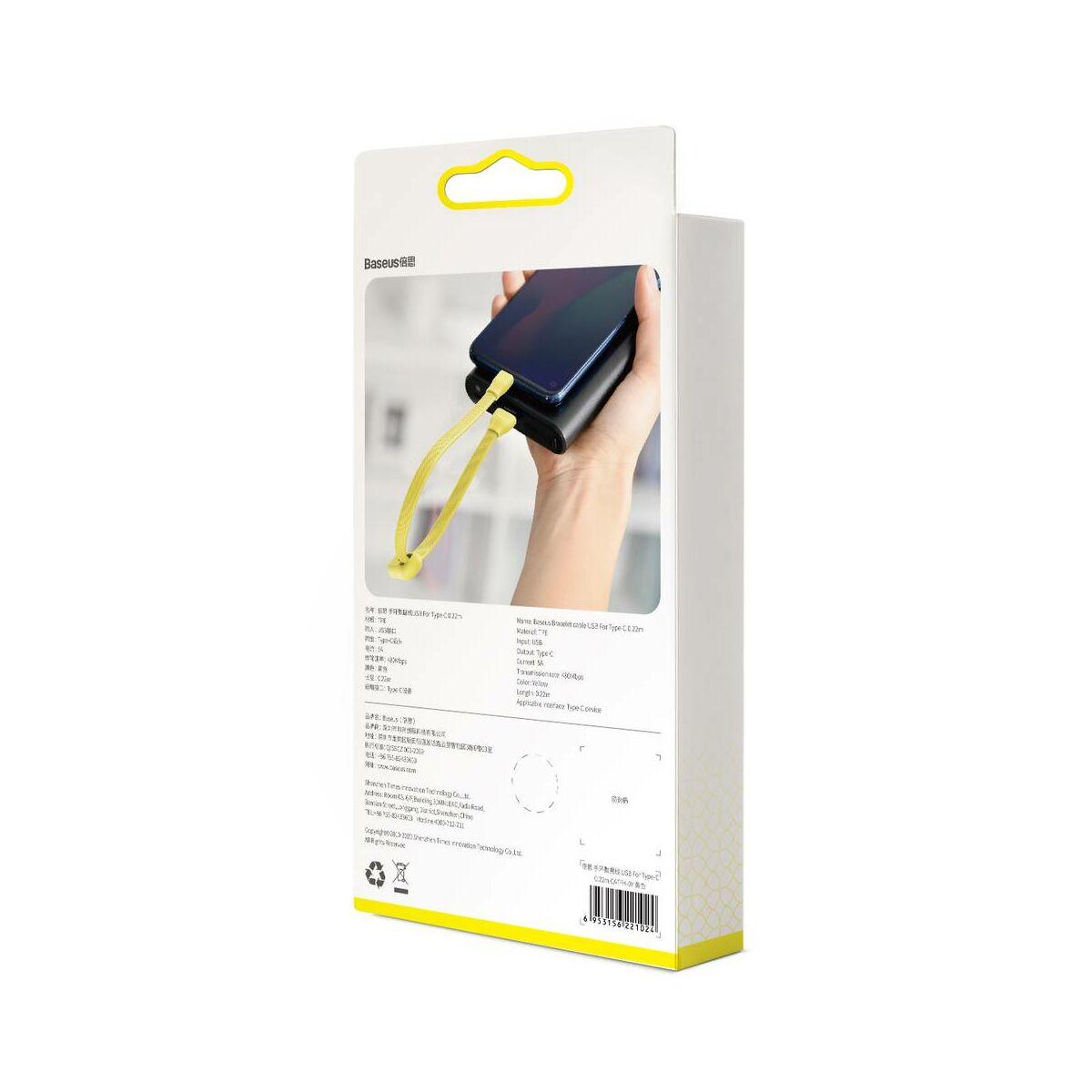 Baseus Karkötő kábel Type-C - USB-A 0.22m 3A, citrom (CATFH-0Y)