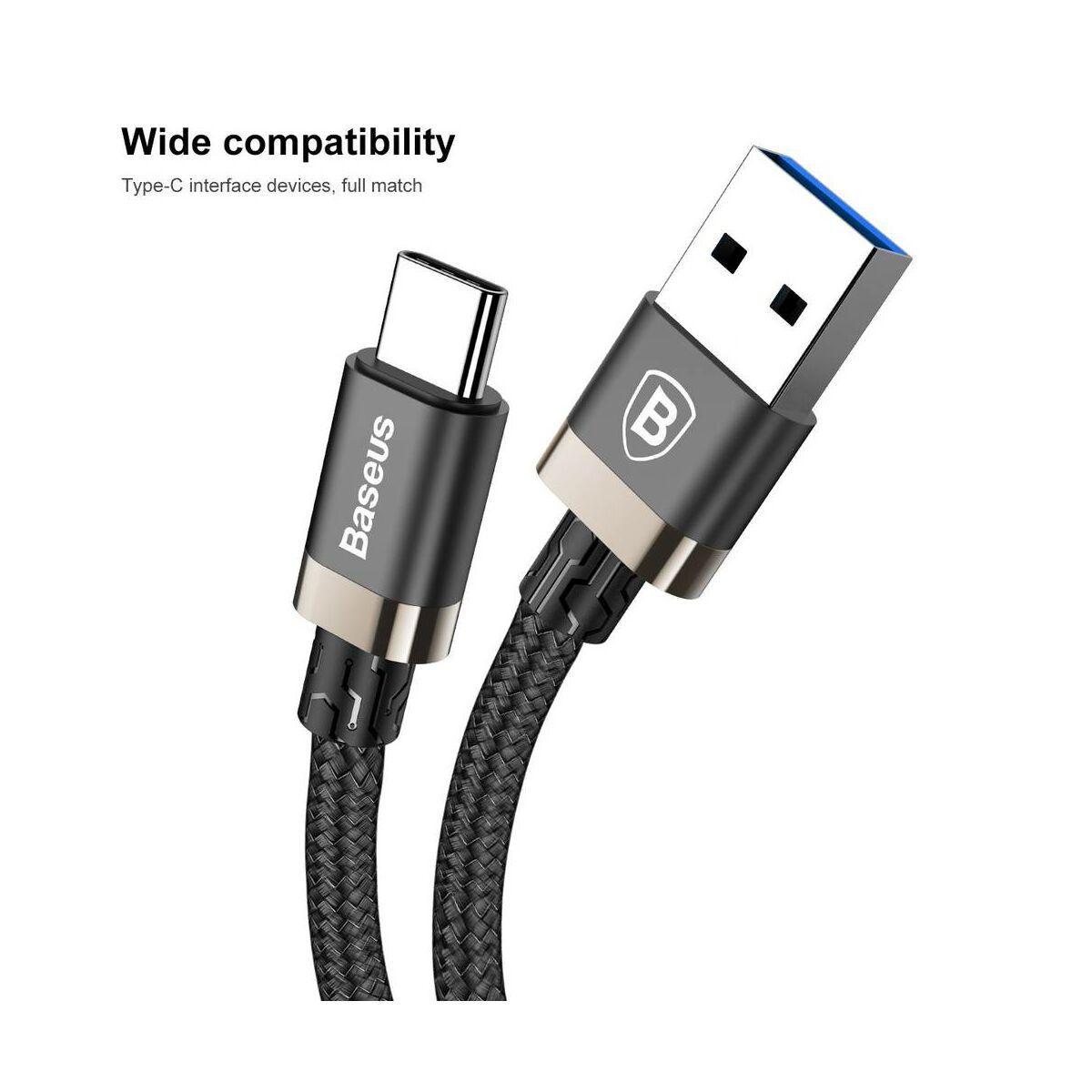 Baseus Type-C kábel, Golden Belt Series prémium USB3.0 kábel, 3A, 1m, fekete/arany (CATGB-1V)