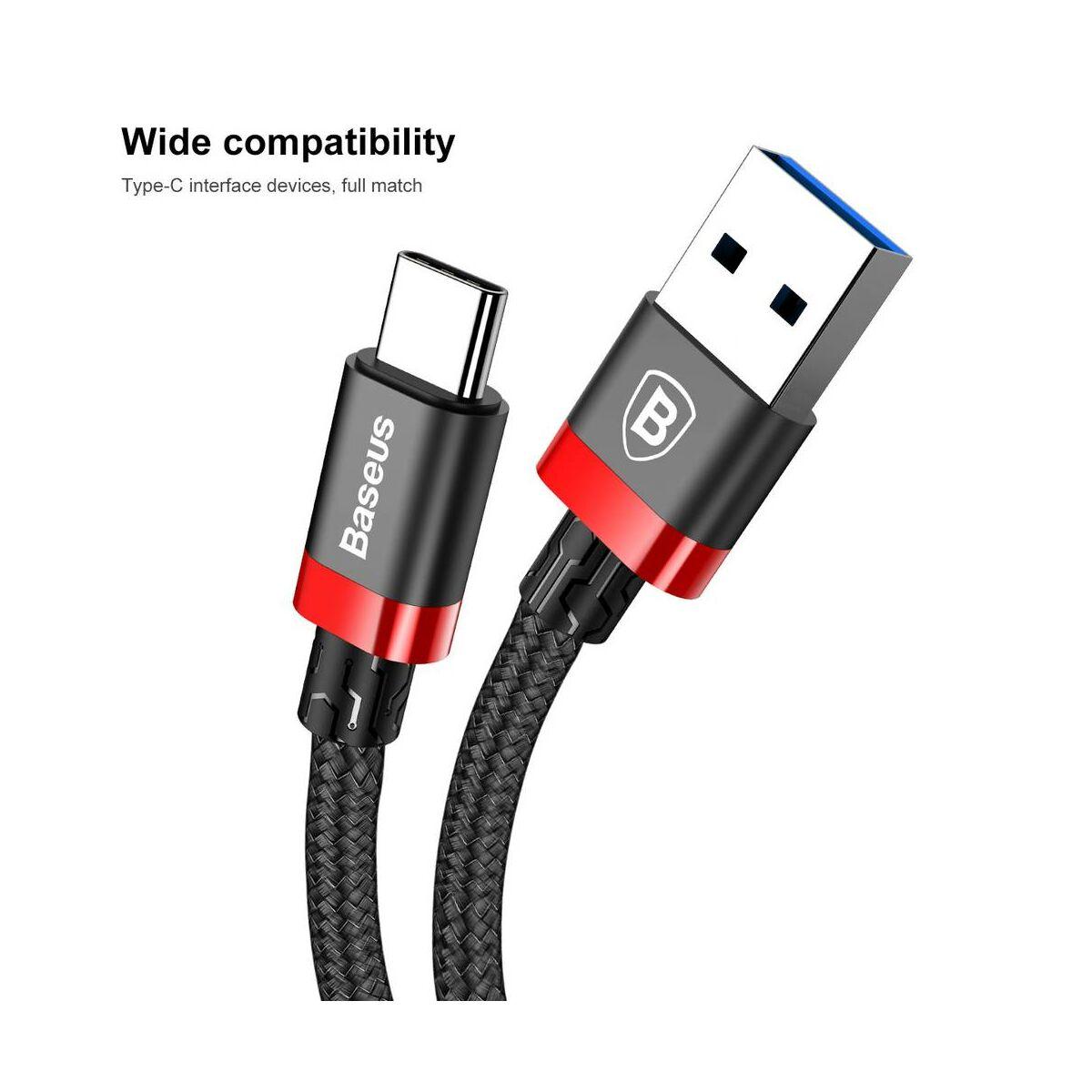 Baseus Type-C kábel, Golden Belt Series prémium USB3.0 kábel, 3A, 1.5m, fekete/piros (CATGB-A19)