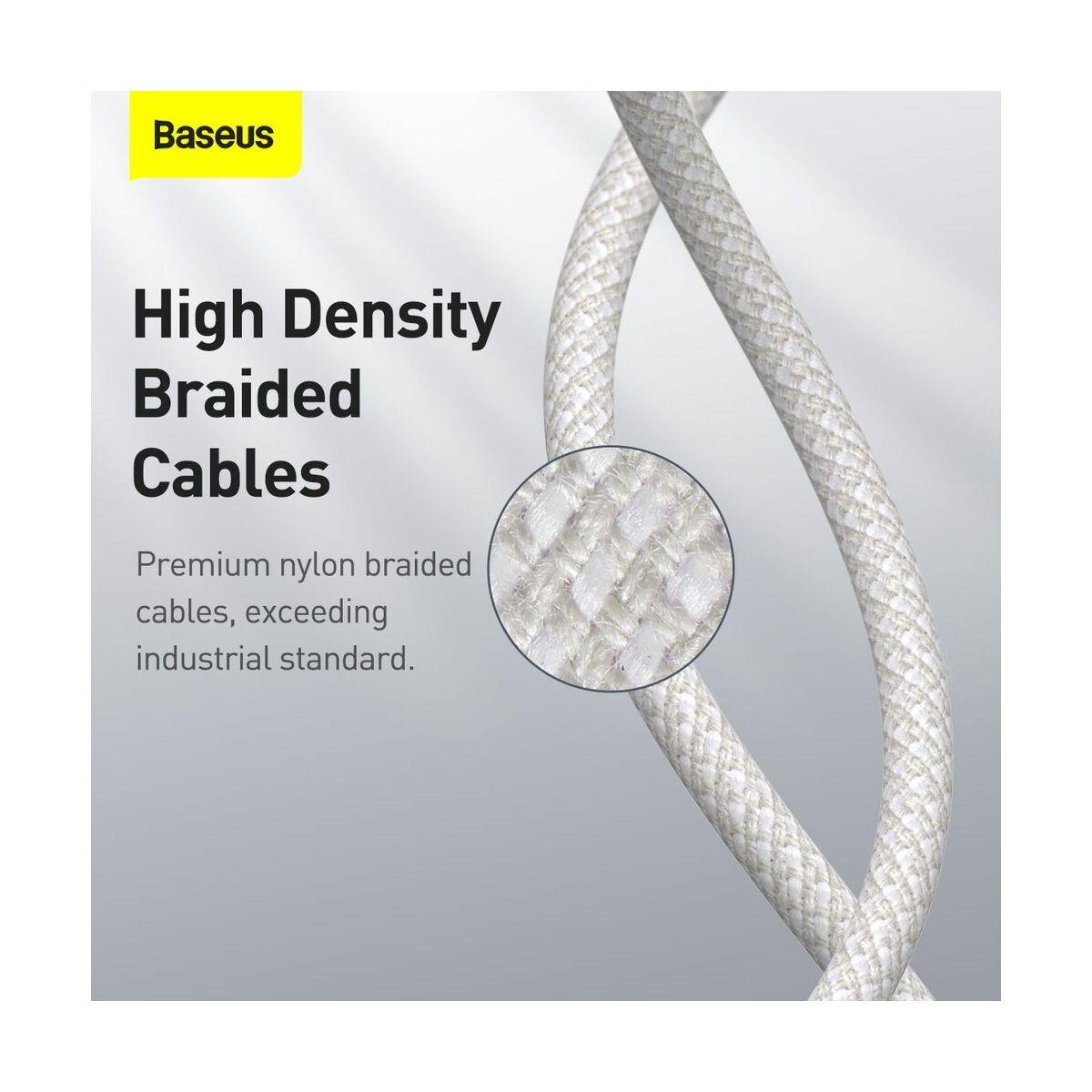 Baseus Type-C - Type-C kábel, sűrű szövésű gyorstöltő és adatkábel 100W (20V/5A) 1m, fehér (CATGD-02)