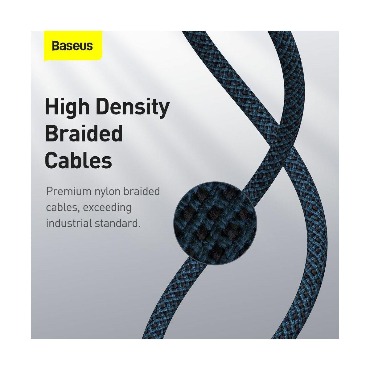 Baseus Type-C - Type-C kábel, sűrű szövésű gyorstöltő és adatkábel 100W (20V/5A) 1m, kék (CATGD-03)