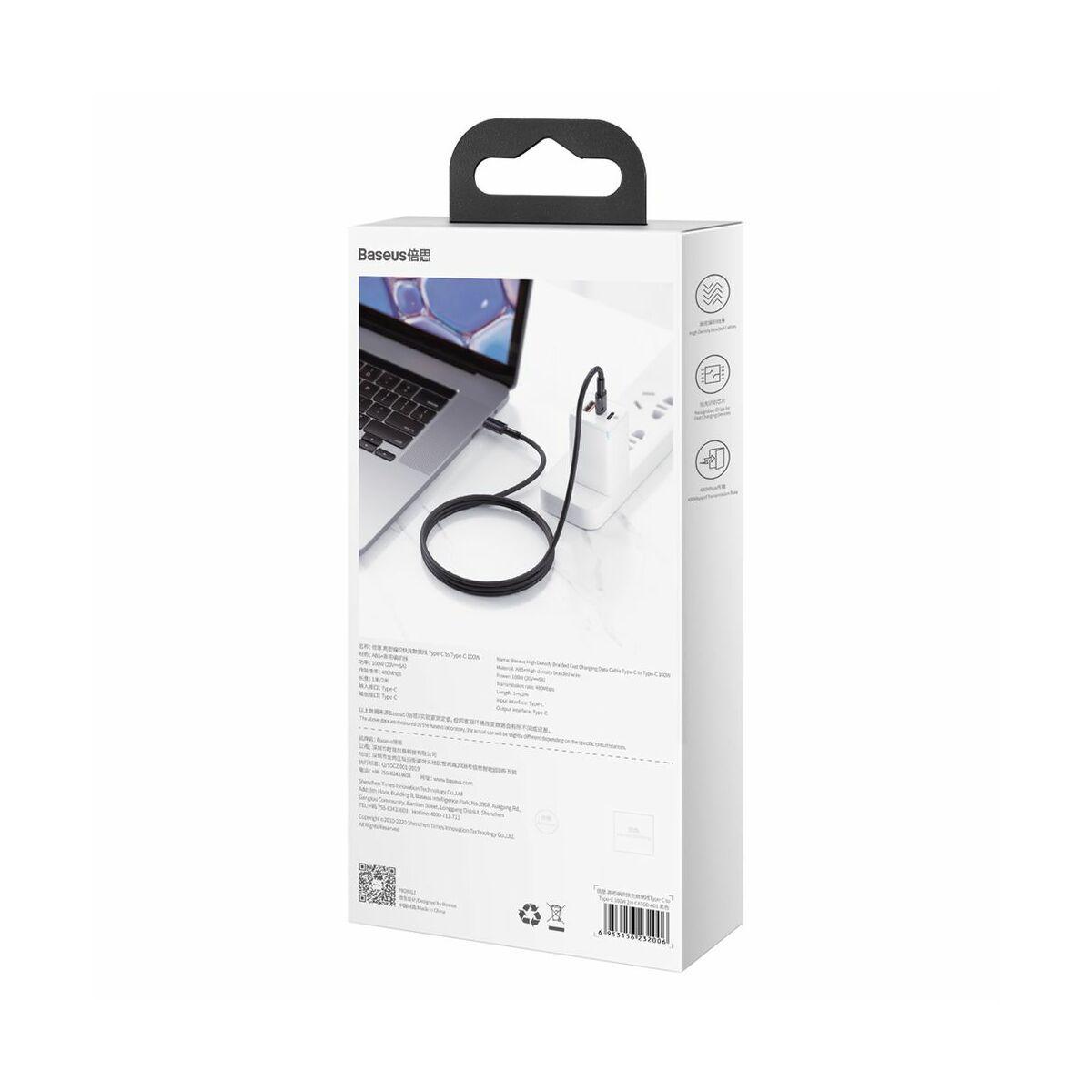 Baseus Type-C - Type-C kábel, sűrű szövésű gyorstöltő és adatkábel 100W (20V/5A) 2m, fekete (CATGD-A01)