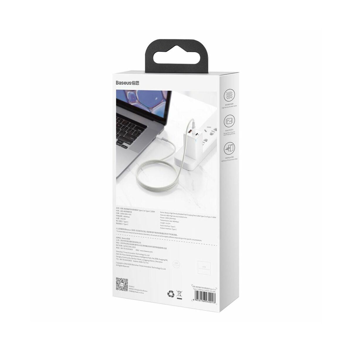 Baseus Type-C - Type-C kábel, sűrű szövésű gyorstöltő és adatkábel 100W (20V/5A) 2m, fehér (CATGD-A02)