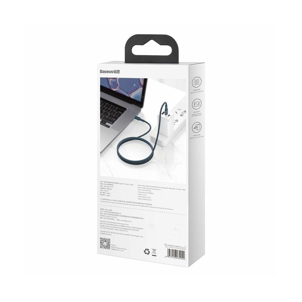 Baseus Type-C - Type-C kábel, sűrű szövésű gyorstöltő és adatkábel 100W (20V/5A) 2m, kék (CATGD-A03)