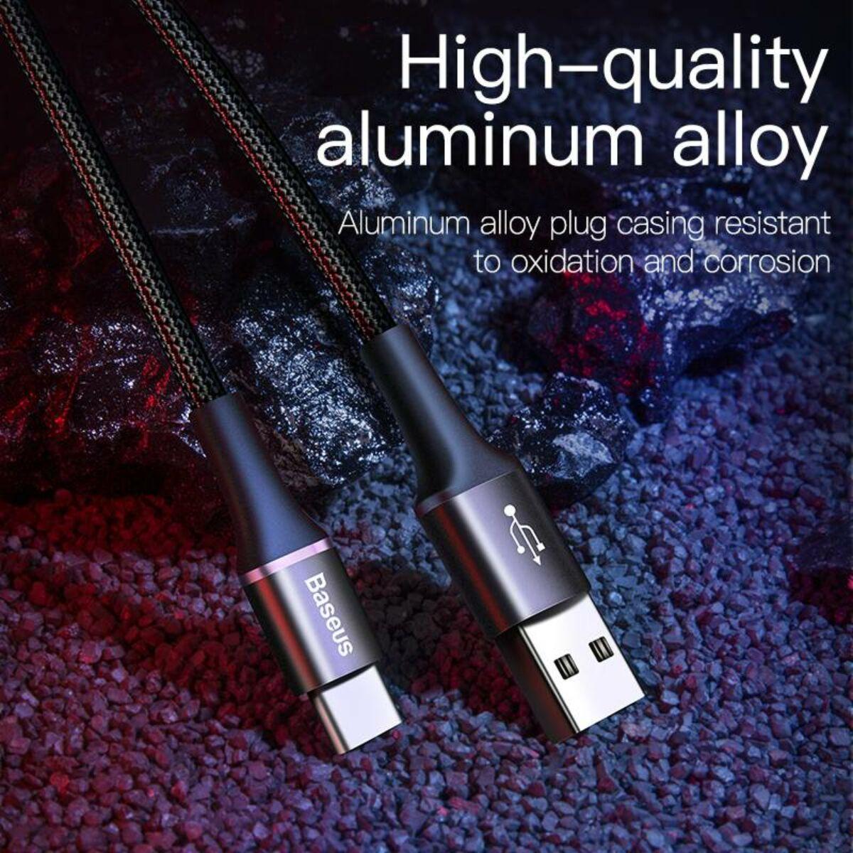 Baseus Type-C kábel, Halo, jelzőfénnyel, kábeltartóval (Velcro), 3A, 1m, fekete (CATGH-B01)