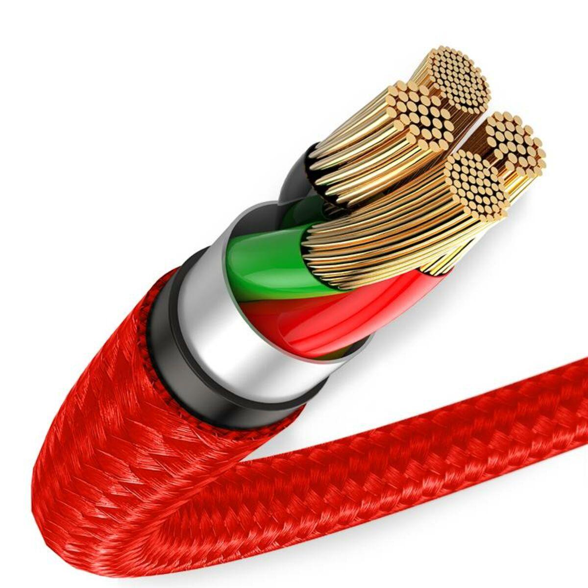 Baseus Type-C kábel, Halo, jelzőfénnyel, kábeltartóval (Velcro), 3A, 1m, piros (CATGH-B09)