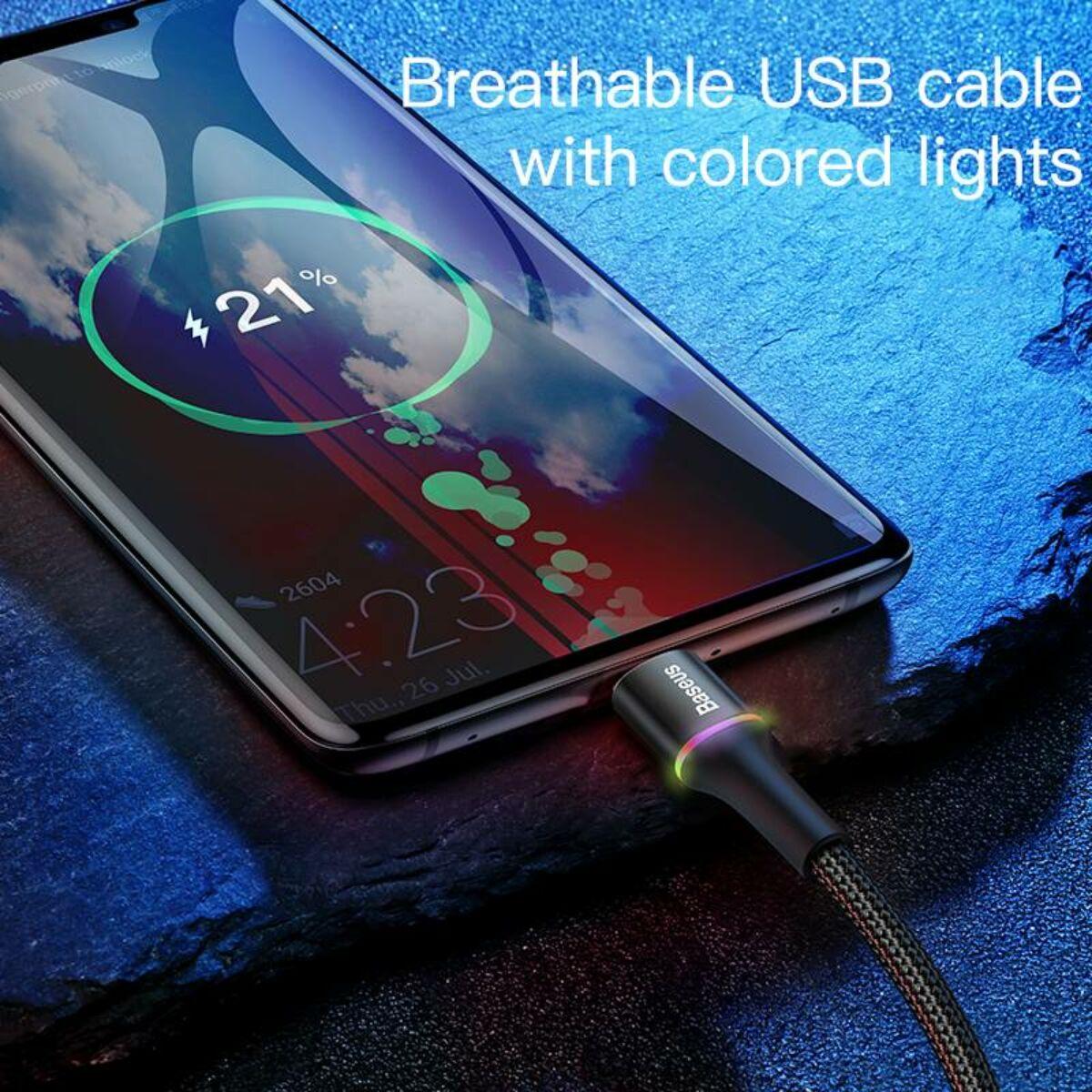 Baseus Type-C kábel, Halo, jelzőfénnyel, kábeltartóval (Velcro), 2A, 2m, fekete (CATGH-C01)