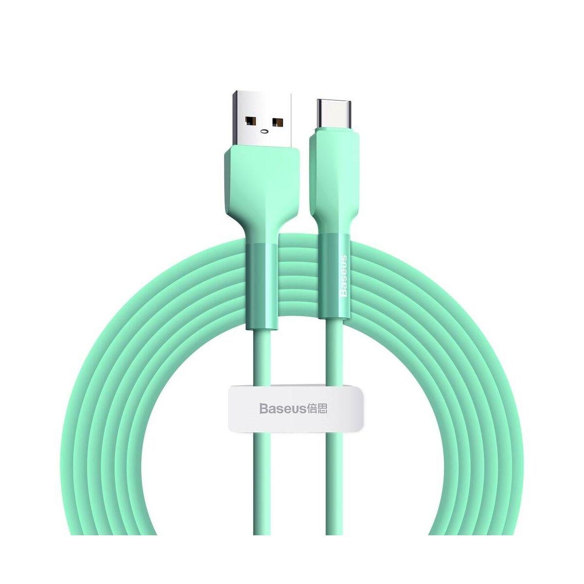Baseus Type-C Szilikon kábel 2A, 2m, zöld (CATGJ-A06)