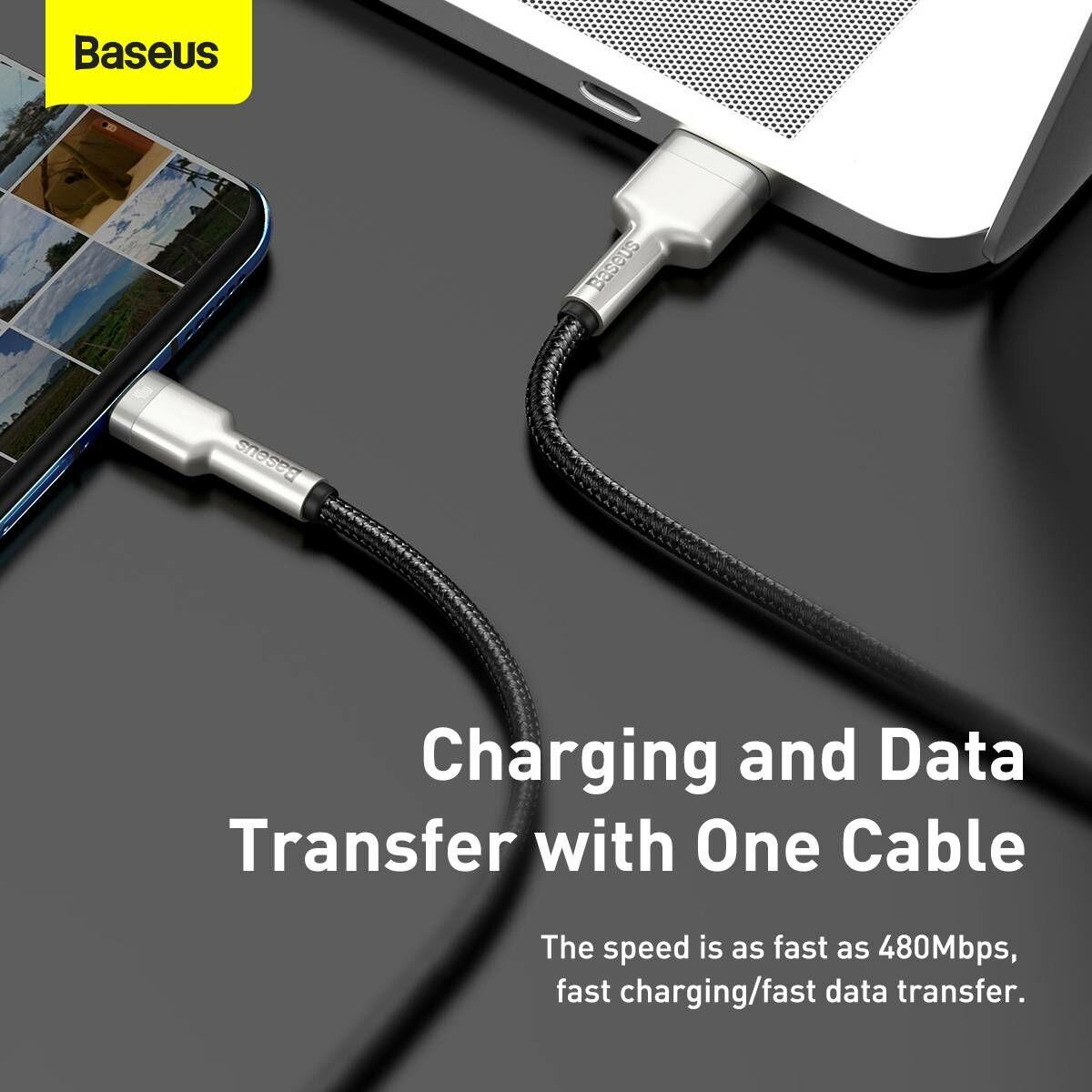 Baseus Type-C kábel, Cafule Series, gyorstötlő és adatkábel, 40W, 5A, 1m, fekete (CATJK-A01)