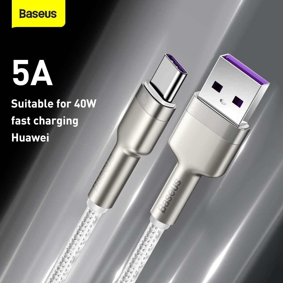Baseus Type-C kábel, Cafule Series, gyorstötlő és adatkábel, 40W, 5A, 1m, fehér (CATJK-A02)
