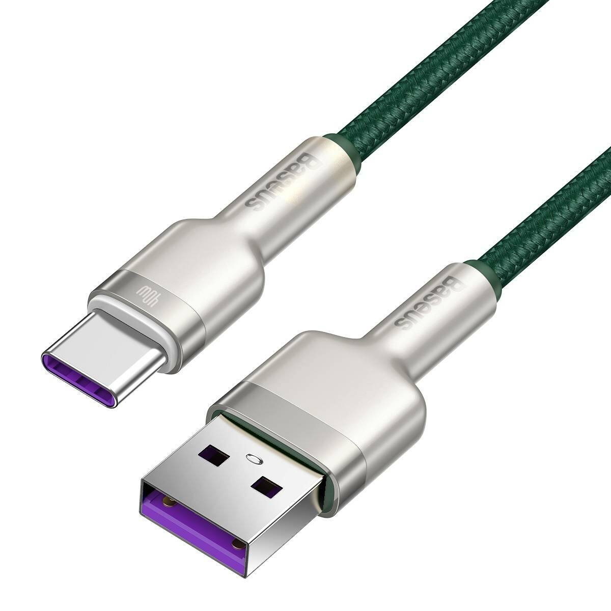 Baseus Type-C kábel, Cafule Series, gyorstötlő és adatkábel, 40W, 5A, 1m, zöld (CATJK-A06)