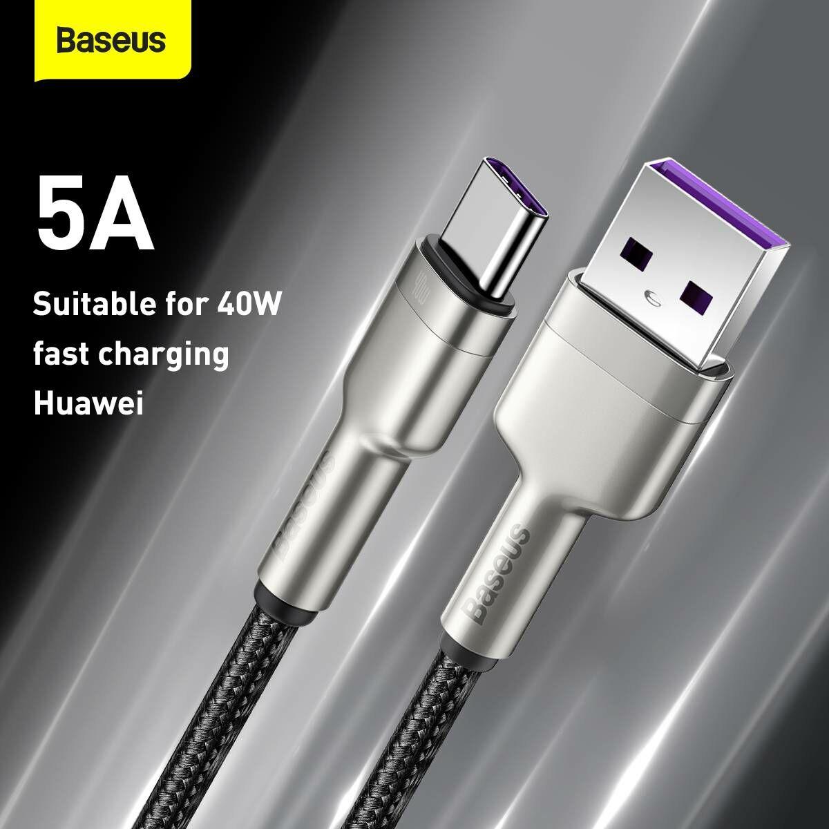Baseus Type-C kábel, Cafule Series, gyorstötlő és adatkábel, 40W, 5A, 2m, fekete (CATJK-B01)