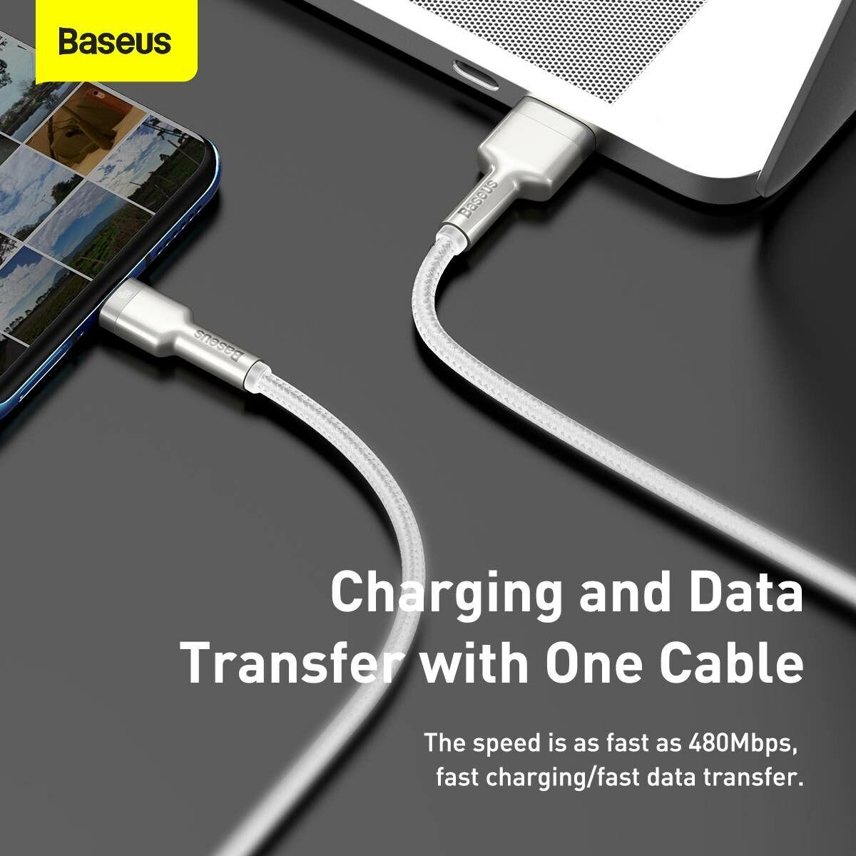Baseus Type-C kábel, Cafule Series, gyorstötlő és adatkábel, 40W, 5A, 2m, fehér (CATJK-B02)