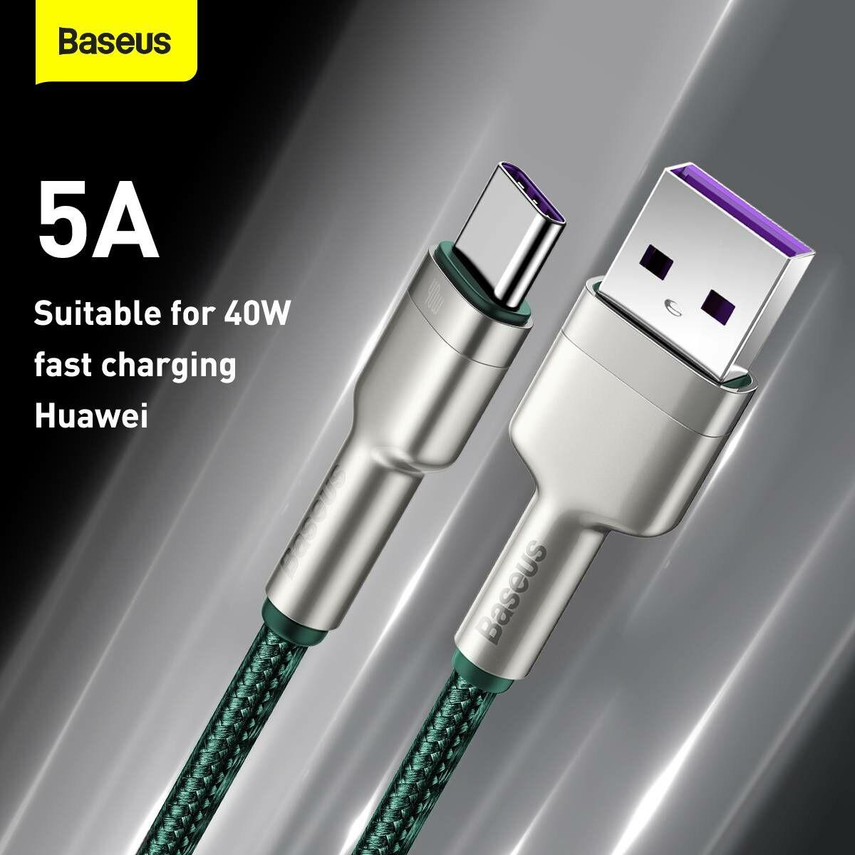 Baseus Type-C kábel, Cafule Series, gyorstötlő és adatkábel, 40W, 5A, 2m, zöld (CATJK-B06)