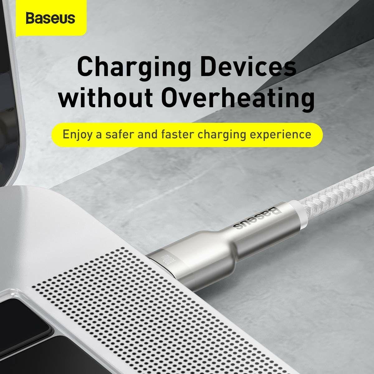 Baseus Type-C - Type-C kábel, Cafule Series Metal gyorstöltő és adatkábel 100W (20V/5A) 2m, fehér (CATJK-D02)