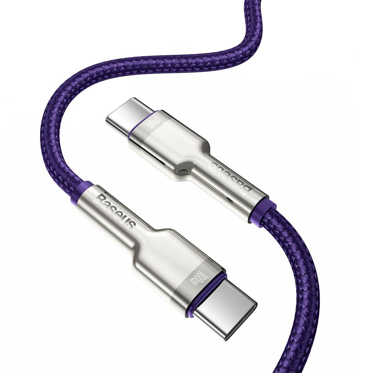 Baseus Type-C - Type-C kábel, Cafule Series Metal gyorstöltő és adatkábel 100W (20V/5A) 2m, lila (CATJK-D05)