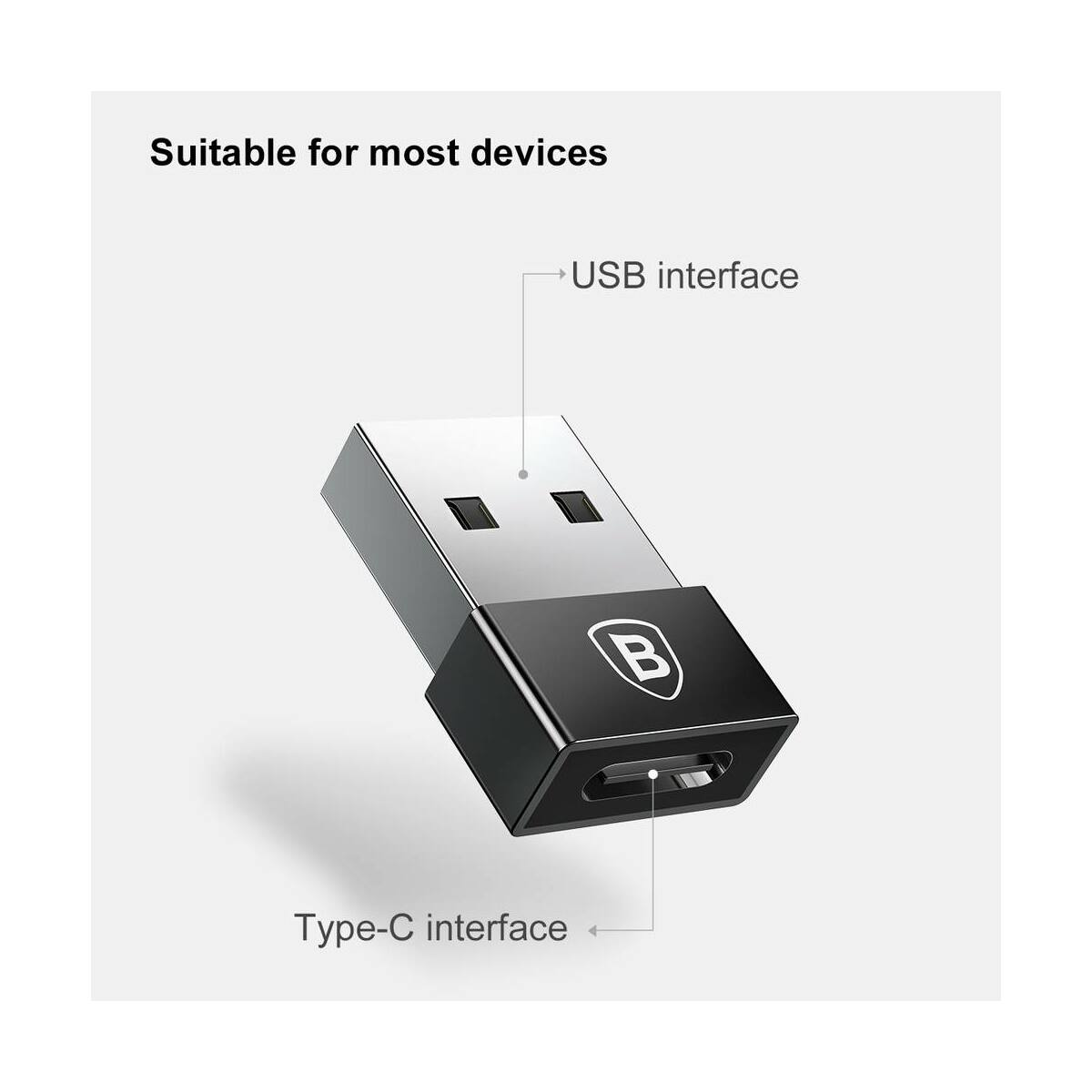 Baseus átalakító, Exquisite USB[apa] - Type-C[anya] adapter, fekete (CATJQ-A01)