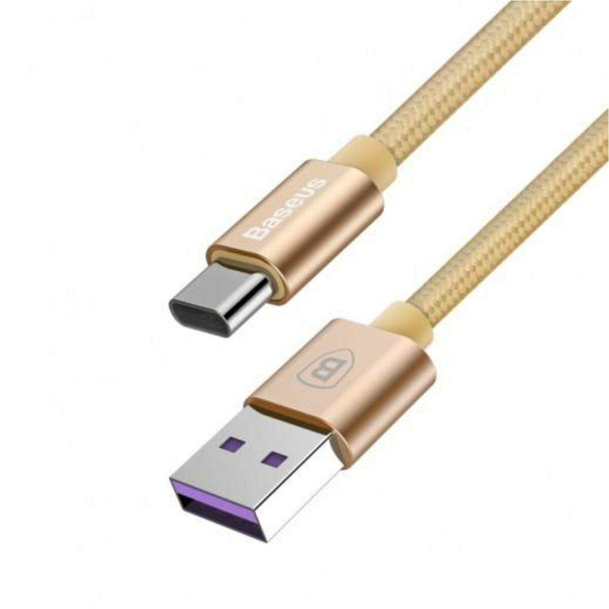 Baseus Type-C kábel, Speed, Type-C, 5A(Huawei Type-C), 1m, arany (CATKC-0V)