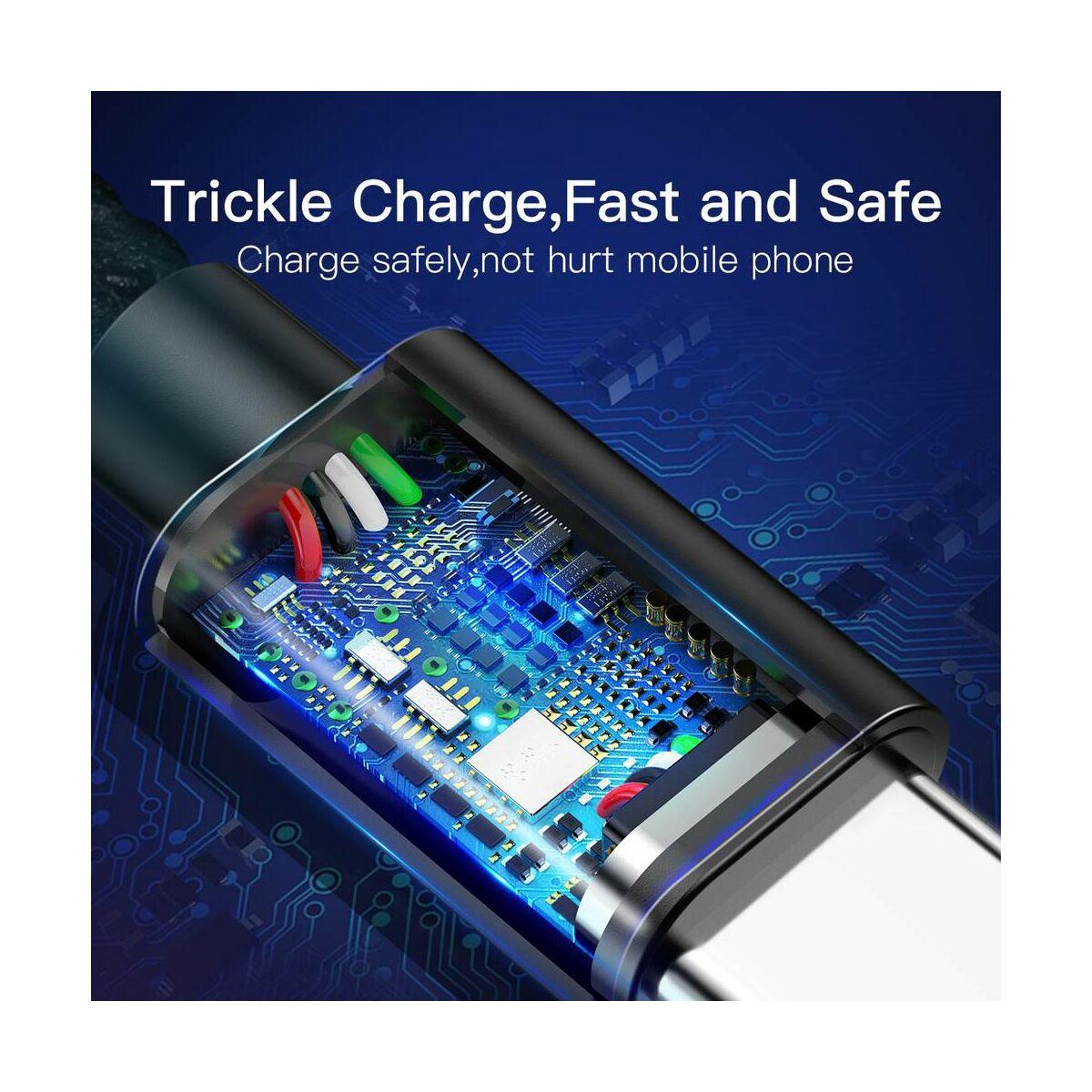 Baseus Type-C kábel, Double fast charging, gyors töltés(4V/5A, 5V/4A, QC[3.0]), 1m, fekete (CATKC-A01)