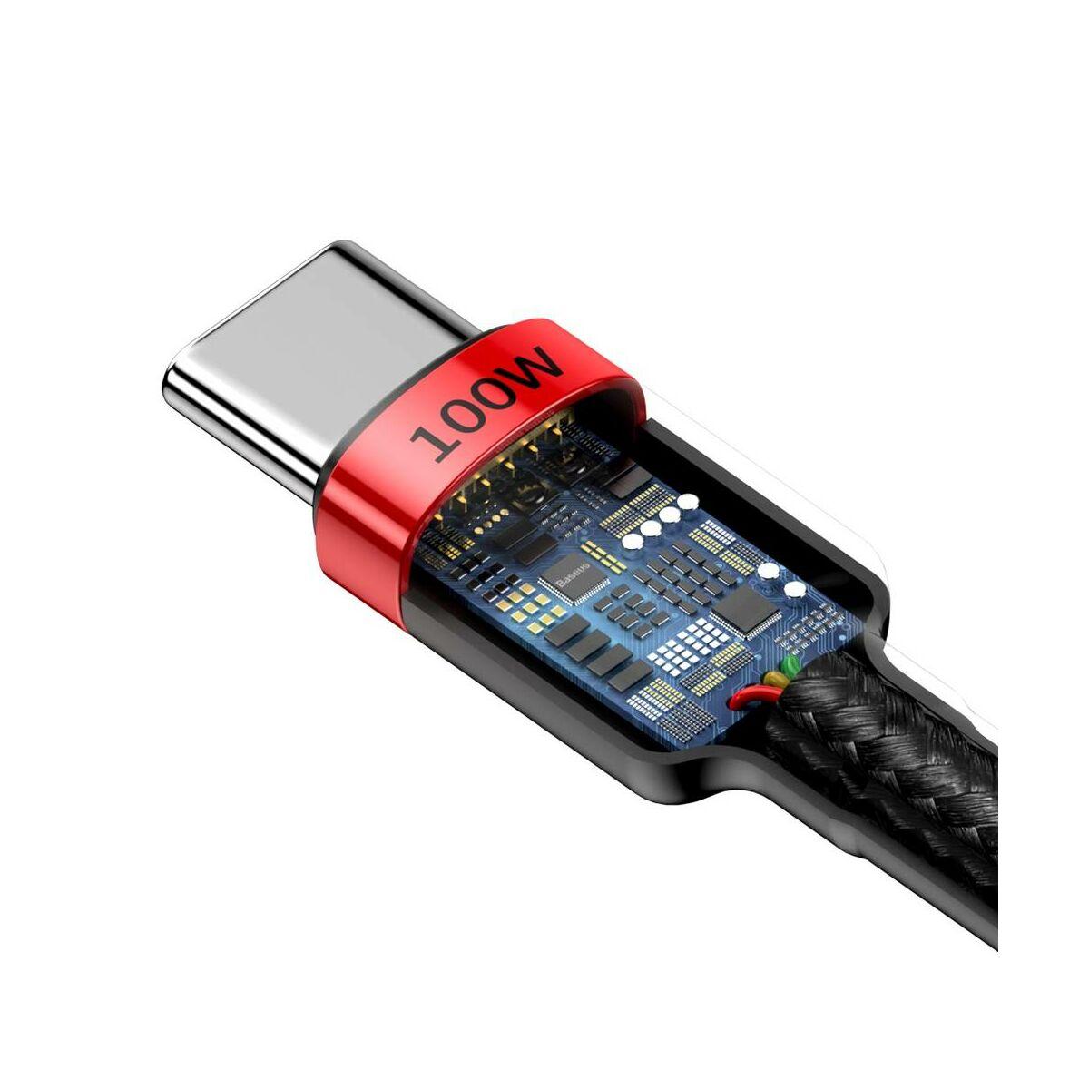 Baseus Type-C Cafule PD2.0 100W Gyors töltő kábel, (20V 5A) 2m, piros/fekete (CATKLF-AL91)