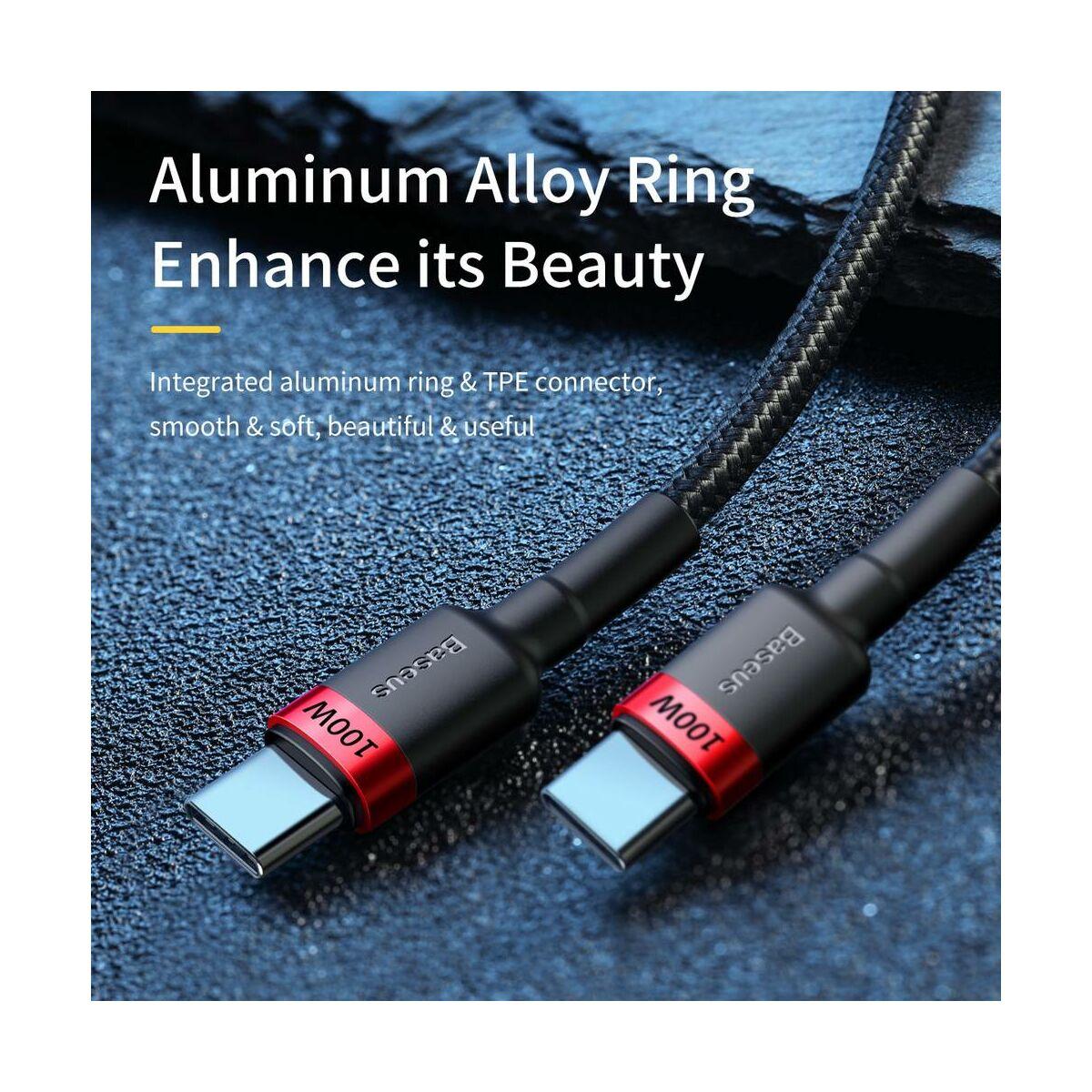 Baseus Type-C Cafule PD2.0 100W Gyors töltő kábel, (20V 5A) 2m, szürke/fekete (CATKLF-ALG1)