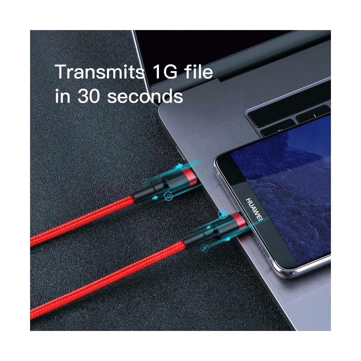 Baseus Type-C kábel, Cafule, gyors töltés PD2.0, QC 3.0, max 60W(20V 3A), 2m, piros (CATKLF-H09)