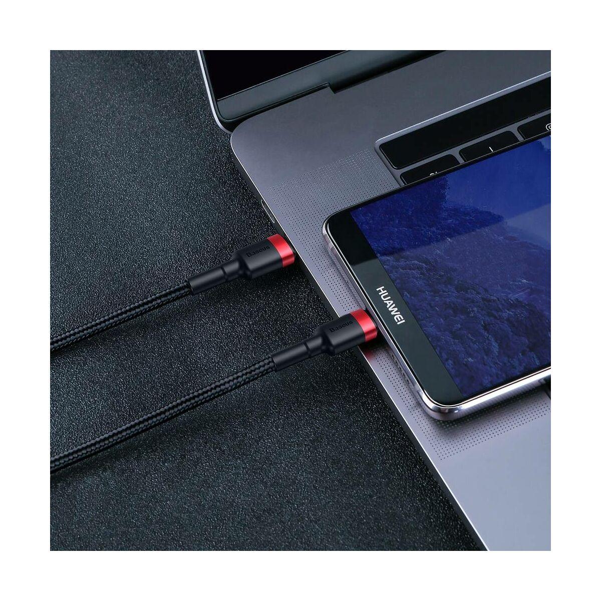 Baseus Type-C kábel, Cafule, gyors töltés PD2.0, QC 3.0, max 60W(20V 3A), 1m, fekete/szürke (CATKLF-H91)