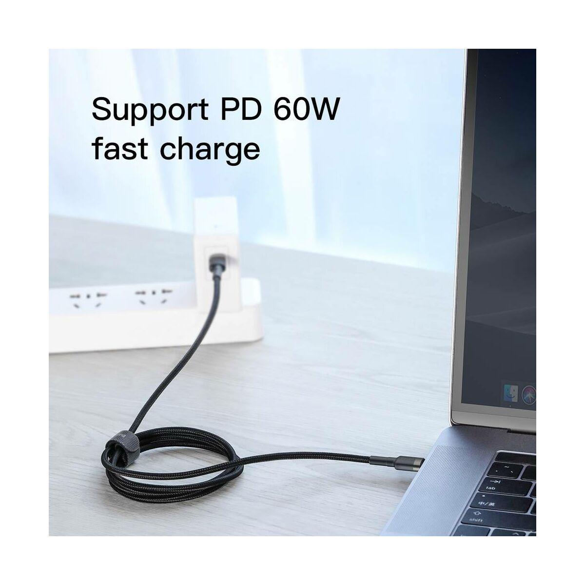 Baseus Type-C Cafule PD2.0 60W Gyors töltő kábel, (20V 3A) 2m, szürke/fekete (CATKLF-HG1)