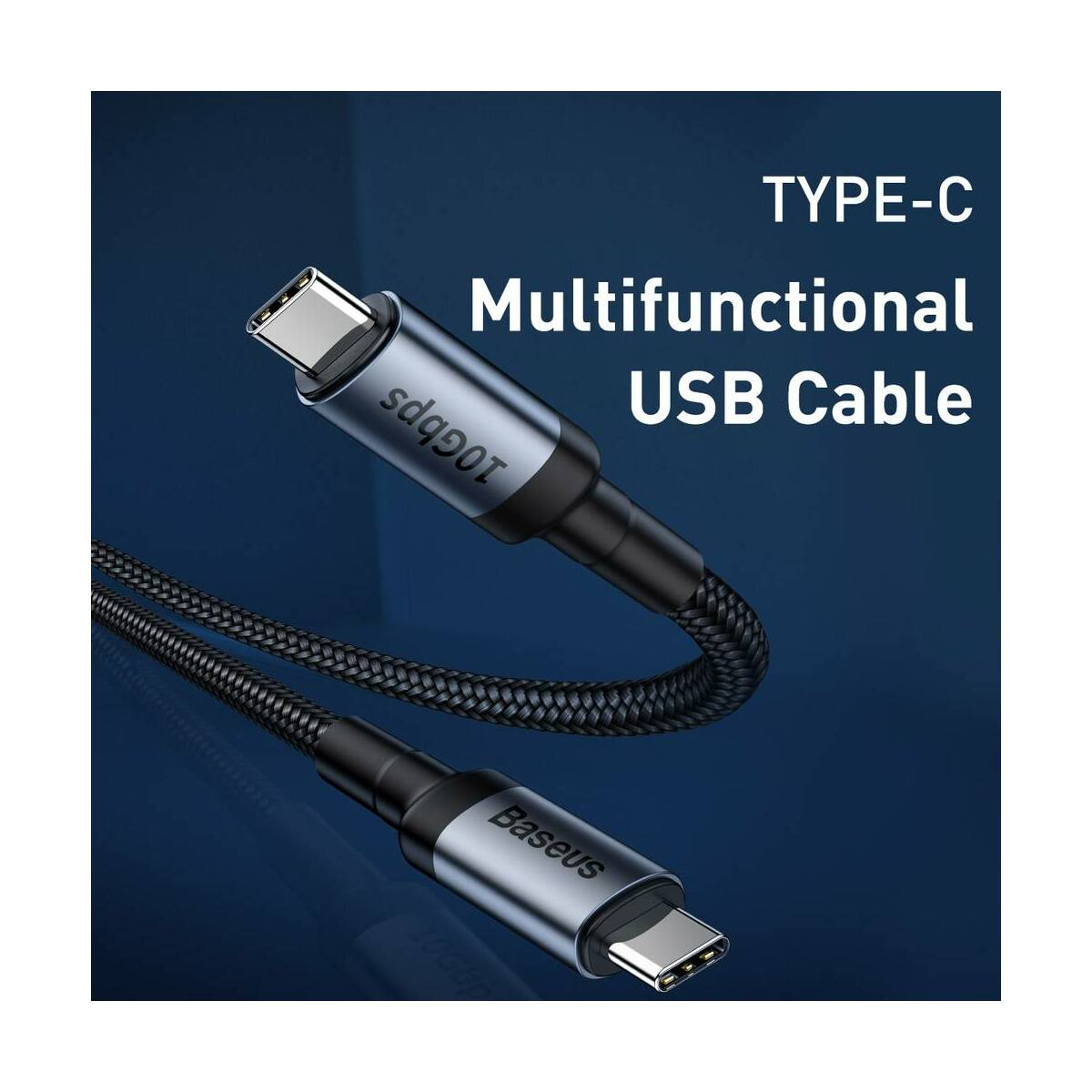 Baseus Type-C Cafule PD3.1, max 60W(20V/3A) flash charge cable 1m, szürke/fekete (CATKLF-RG1)