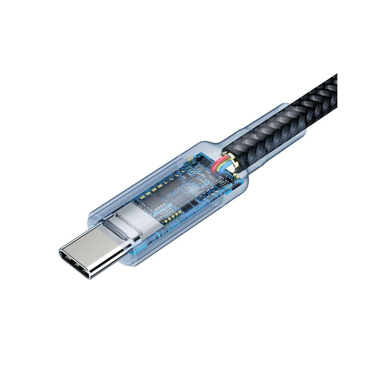 Baseus Type-C Cafule PD3.1, max 100W(20V/5A) speciális adat-és gyors töltés kábel, 1m, arany (CATKLF-SV1)